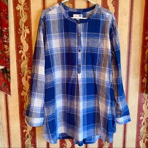 Old Navy Women's Blue Plaid Half Button Tunic XXL